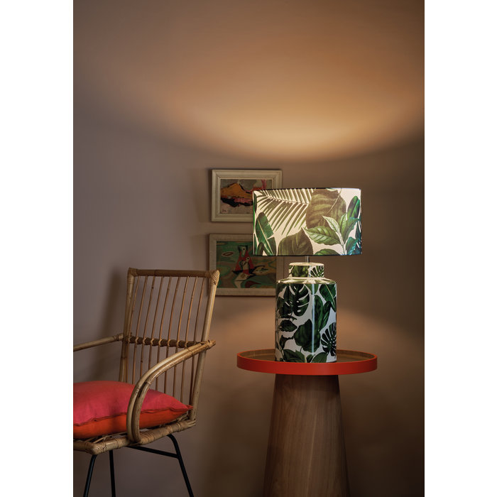 Pedro - Ceramic Table Lamp with Green House Plant Print
