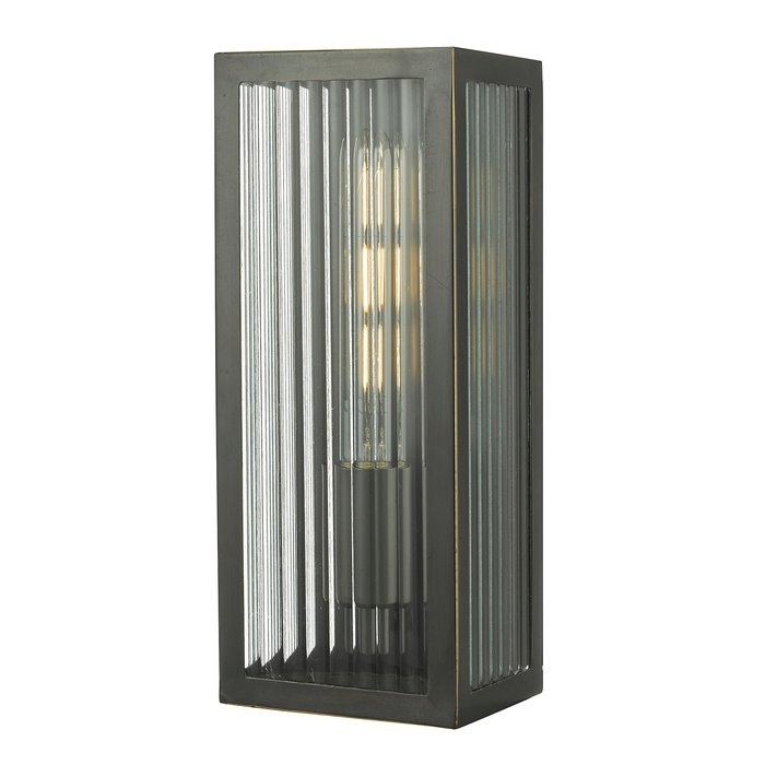Atlas - IP44 Small Ribbed Glass Wall Light - Black