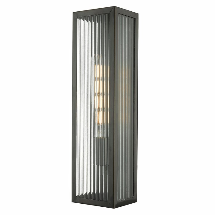 Atlas - IP44 Large Ribbed Glass Wall Light - Black