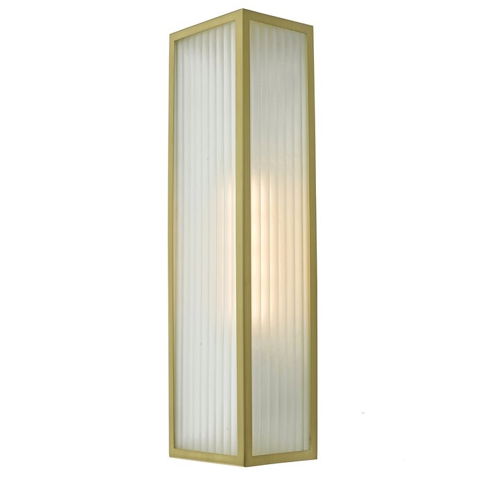 Atlas - IP44 Large Ribbed Glass Wall Light - Satin Brass