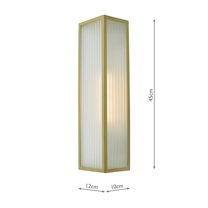 Atlas - IP44 Large Ribbed Glass Wall Light - Satin Brass