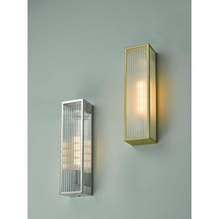 Atlas - IP44 Large Ribbed Glass Wall Light - Stainless Steel