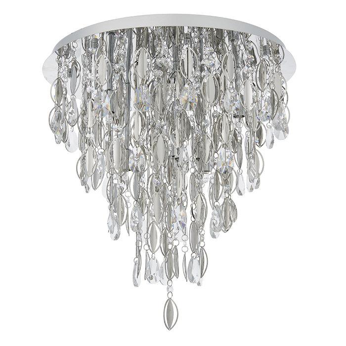 Melanie - Crystal Waterfall Flush Ceiling Light - 6 Light