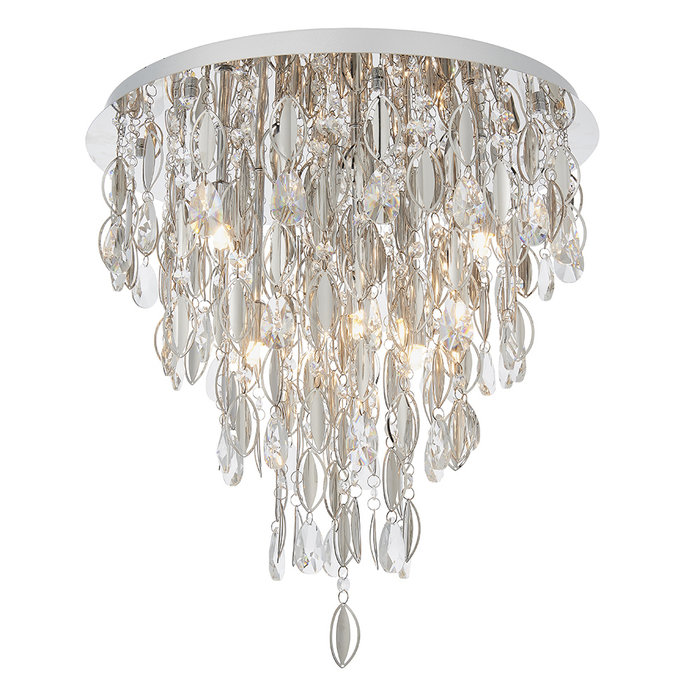 Melanie - Crystal Waterfall Flush Ceiling Light - 6 Light