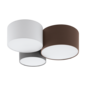 Pastel - Fabric Drum Flush Ceiling Light  - Grey/Anthracite Brown/White