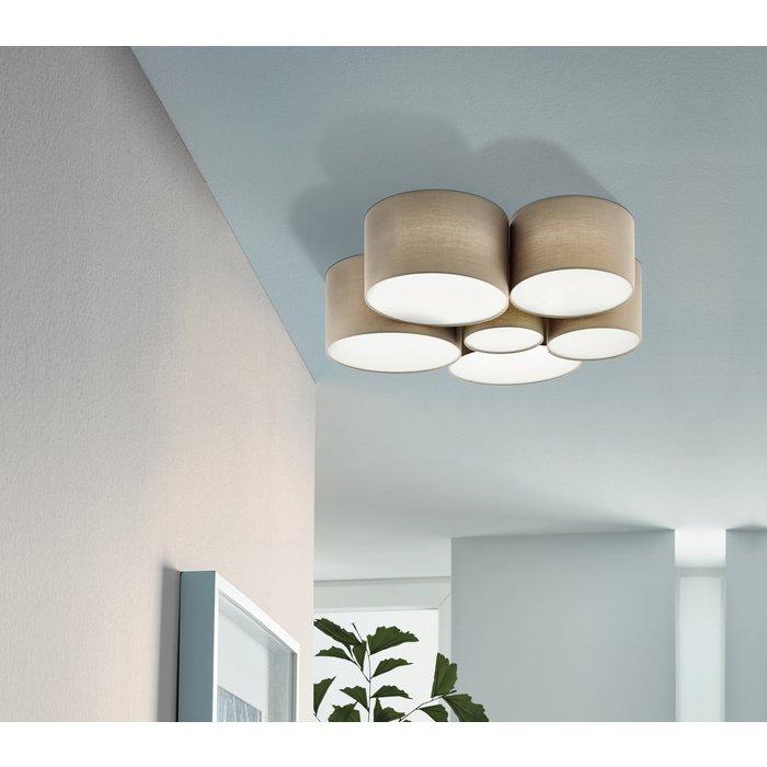 Pastel - Large Fabric Drum Flush Ceiling Light  - Taupe