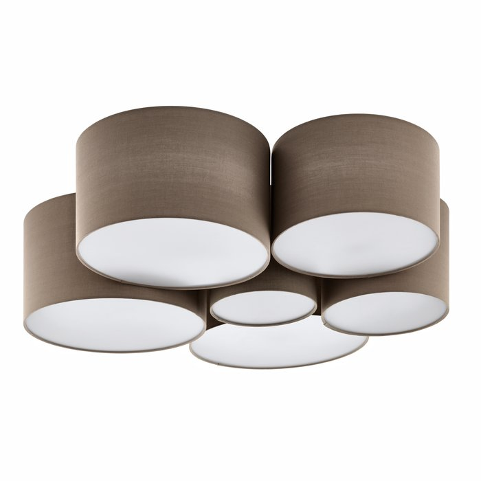 Pastel - Large Fabric Drum Flush Ceiling Light  - Taupe