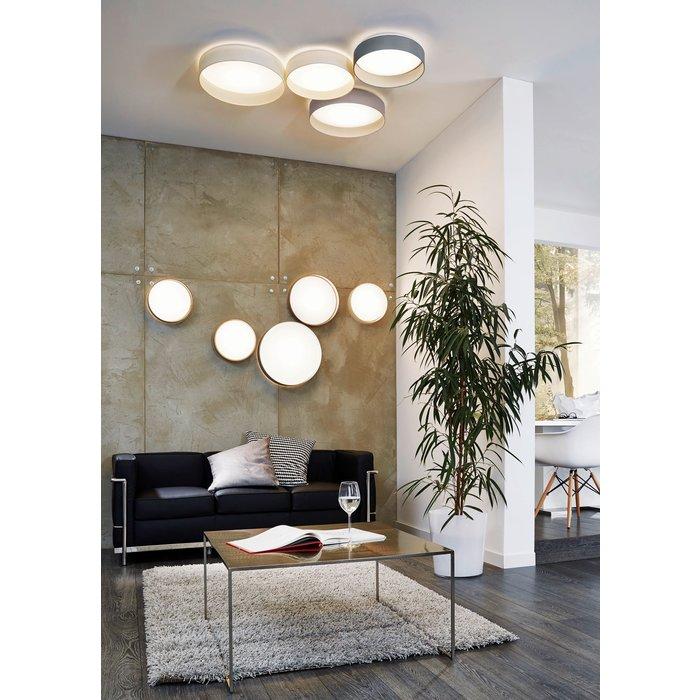 Pastel - Grey Fabric Drum Flush Ceiling Light