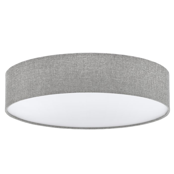 Pastel - Grey Fabric Drum Flush Ceiling Light