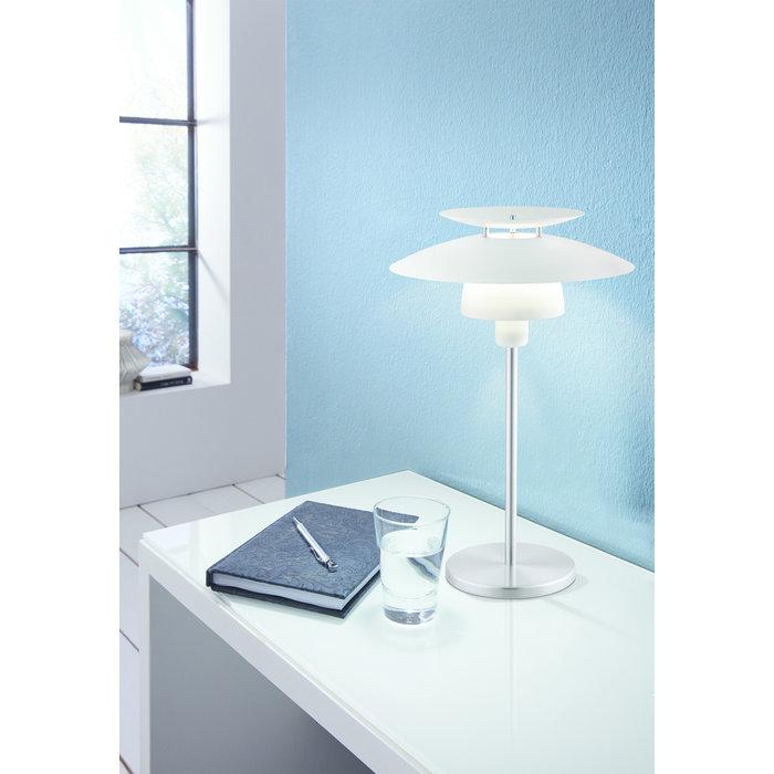 Louvred Scandi Table Lamp - White