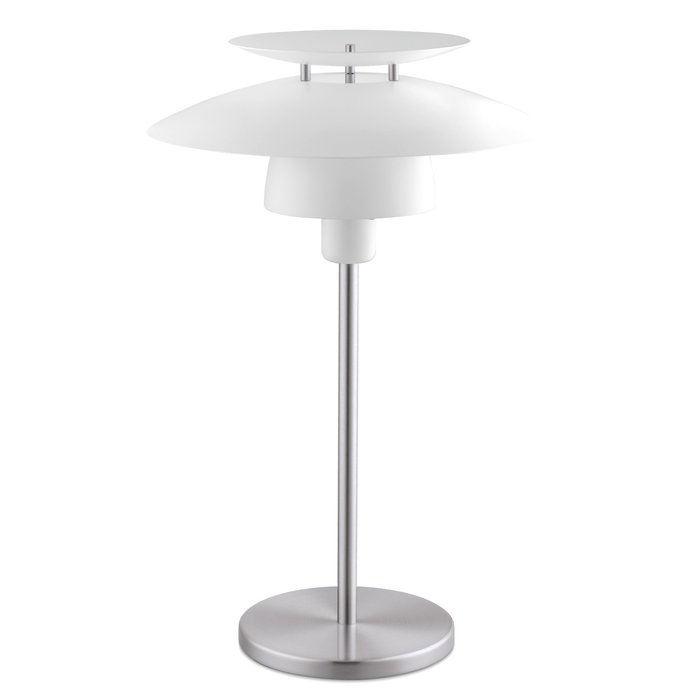 Louvred Scandi Table Lamp - White