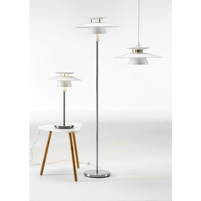Louvred Scandi Floor Lamp - White