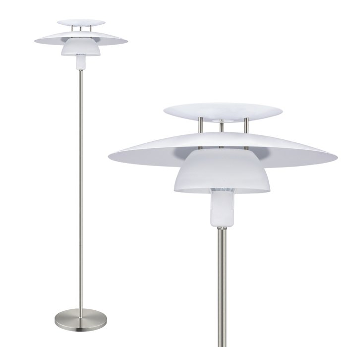 Louvred Scandi Floor Lamp - White
