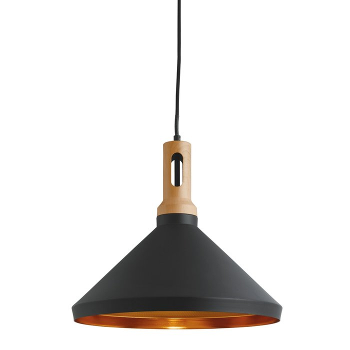 Nordic - Scandi Black & Gold Inner Pendant with Wood Detailing
