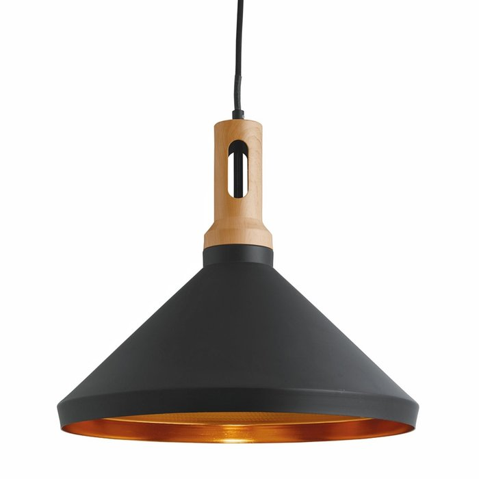 Nordic - Scandi Black & Gold Inner Pendant with Wood Detailing