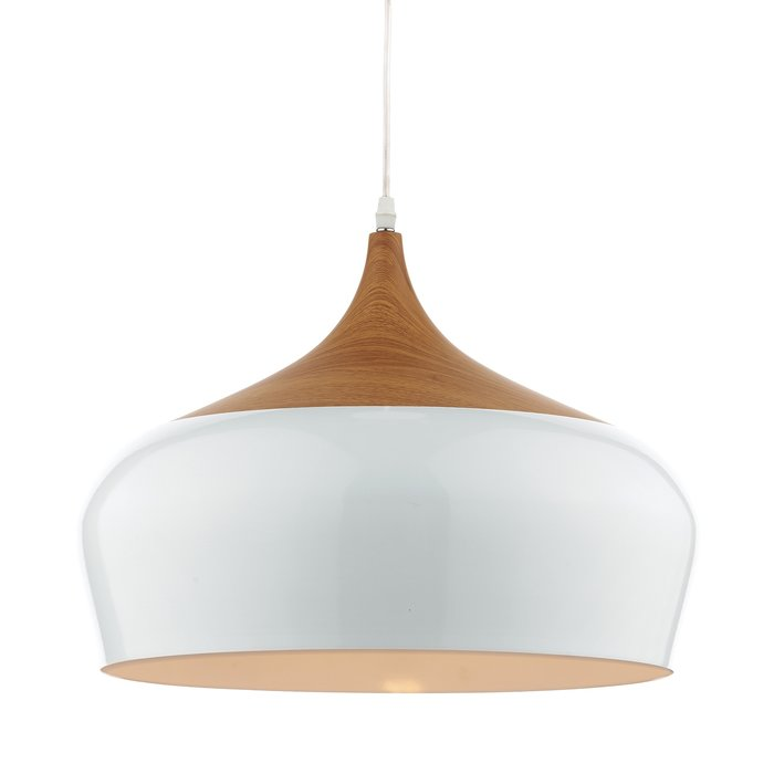 Oversized Scandi White & Wood Pendant