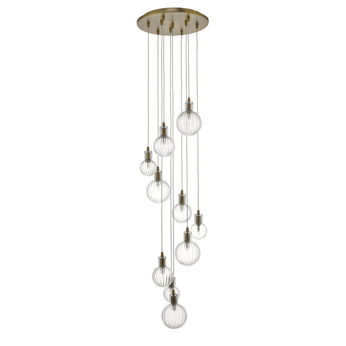 Dito - Brass & Glass 10 Light Cluster Pendant