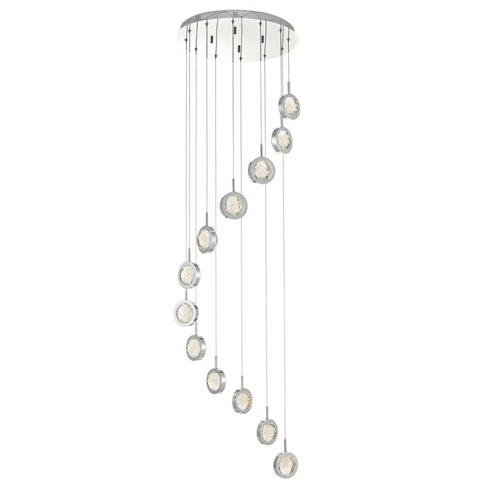 Olivia - 12 light Cluster LED Glass & Chrome Pendant