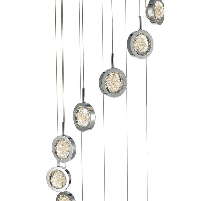 Olivia - 12 light Cluster LED Glass & Chrome Pendant