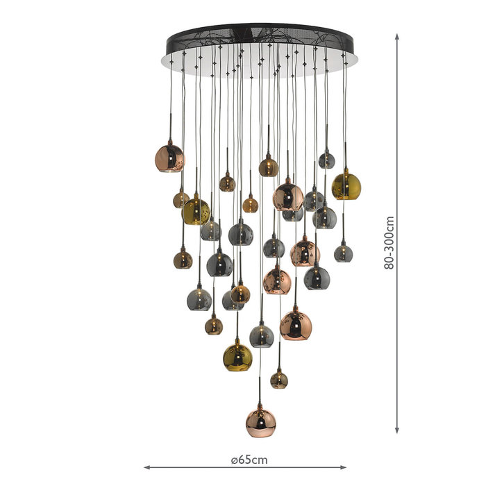 Large Copper Cascade Cluster Light - Copper, Dark Copper & Smoked Glass