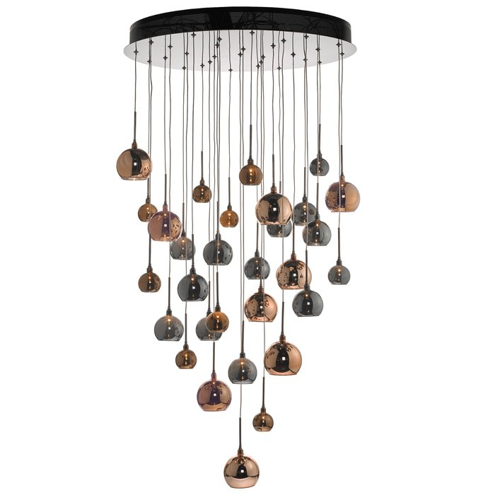 Large Copper Cascade Cluster Light - Copper, Dark Copper & Smoked Glass