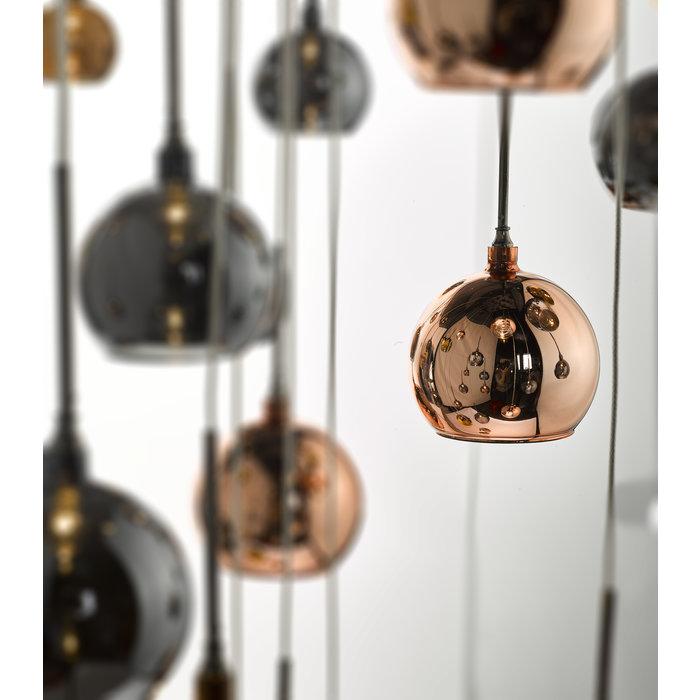 Copper 15 Light Cascade - Copper, Dark Copper & Smoked Glass