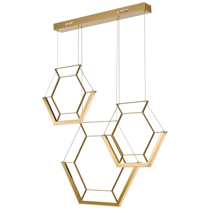 Hexagon - Ultra Modern 3 Light Cluster Pendant - Gold - LED