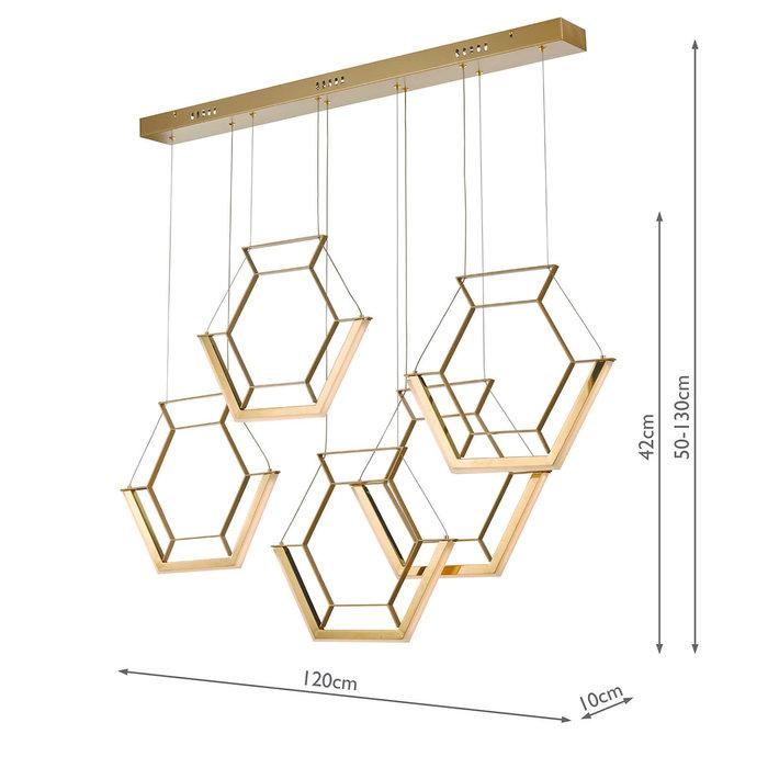 Hexagon - Ultra Modern 5 Light Cluster Pendant - Gold - LED