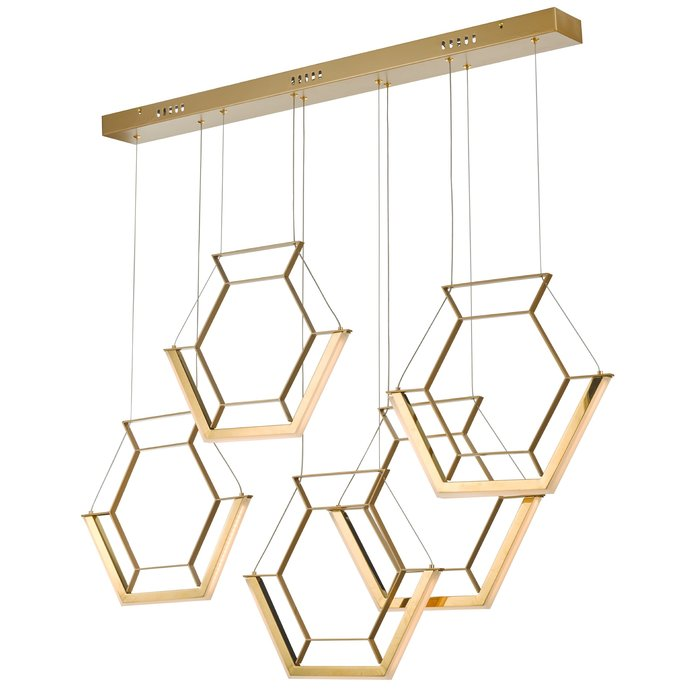 Hexagon - Ultra Modern 5 Light Cluster Pendant - Gold - LED