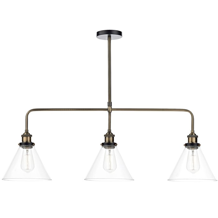 Industrial Style Glass Bar Pendant with Antique Brass Detailing