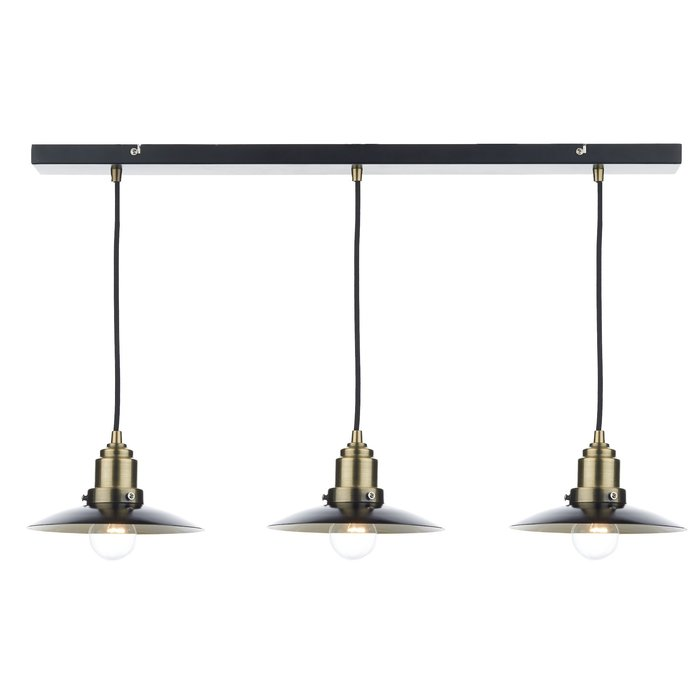 Industrial Bar 3 Light Fitting - Antique Brass/Black