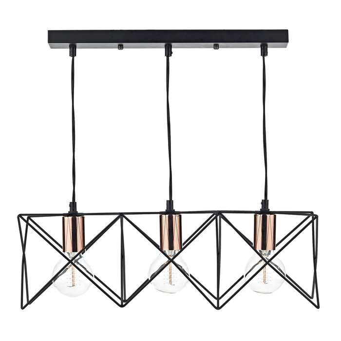3 Light Cage Bar Pendant - Black