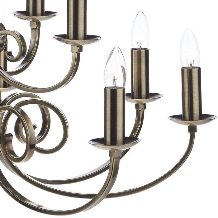 12 Light Candle Chandelier - Antique Brass