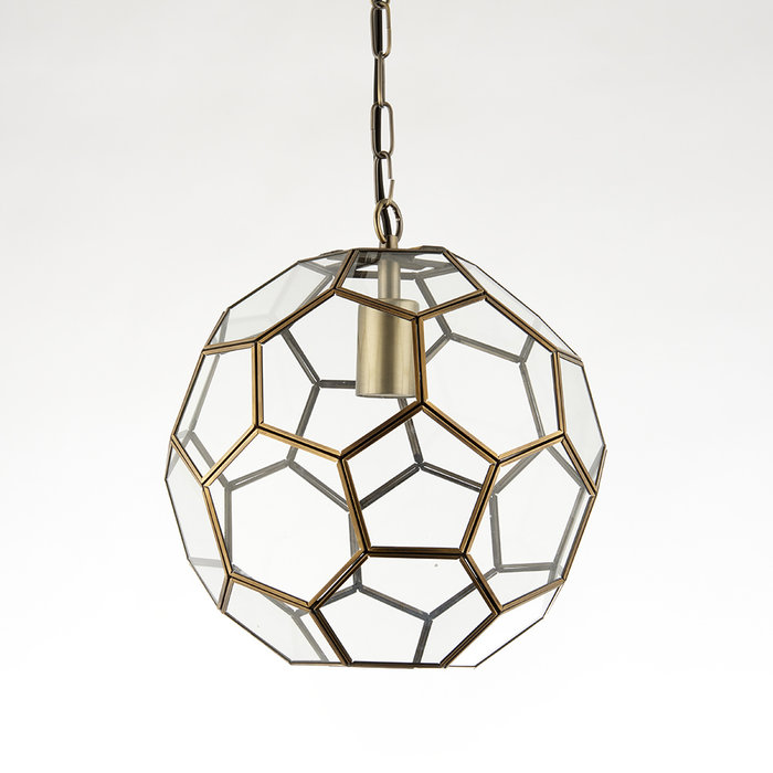 Glass Panelled Globe Pendant - Antique Brass