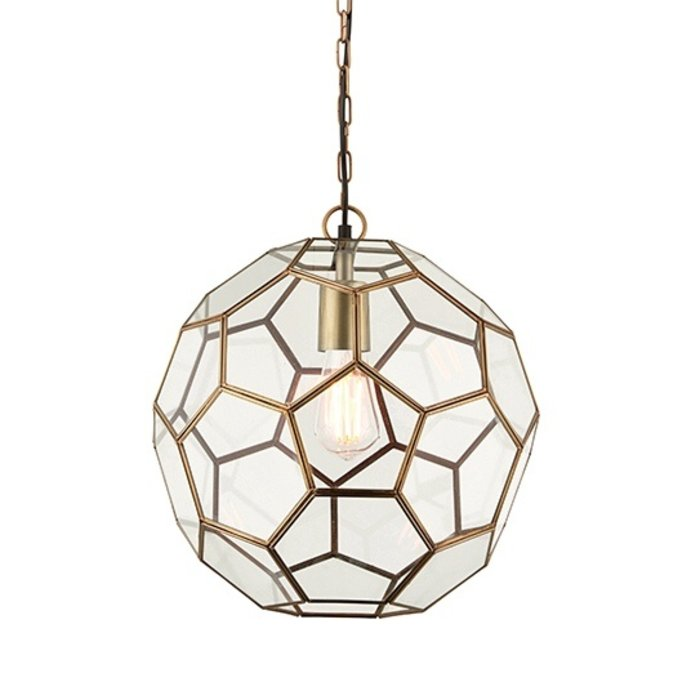 Glass Panelled Globe Pendant - Antique Brass