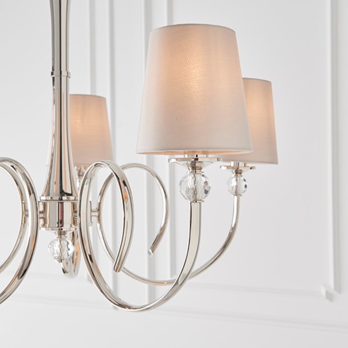 Fabio - Classic 5 Arm Chandelier with Marble Silk Shades - Polished Nickel  & Crystal