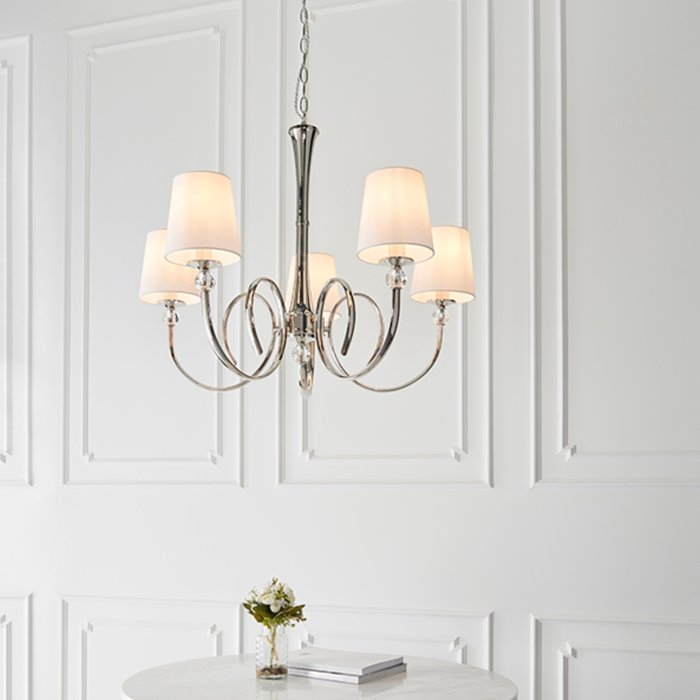 Fabio - Classic 5 Arm Chandelier with Vintage White Silk Shades - Polished Nickel  & Crystal