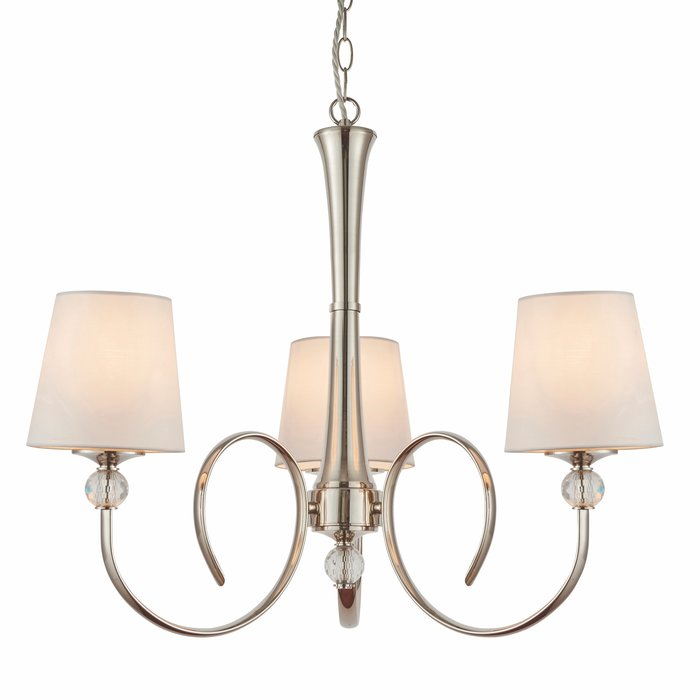 Fabio - Classic 3 Arm Chandelier with Vintage White Silk Shades - Polished Nickel  & Crystal