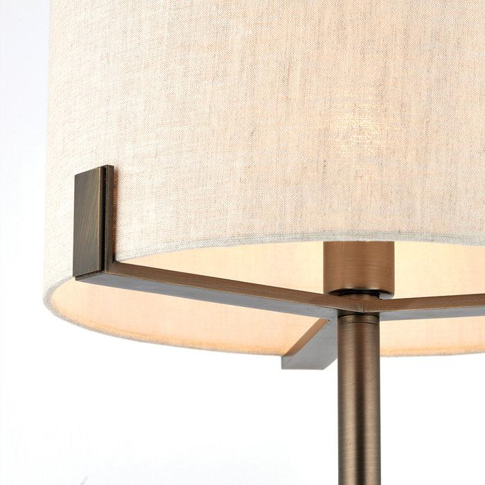 Hatfield - Modern Drum Table Light - Natural Linen & Brushed Bronze