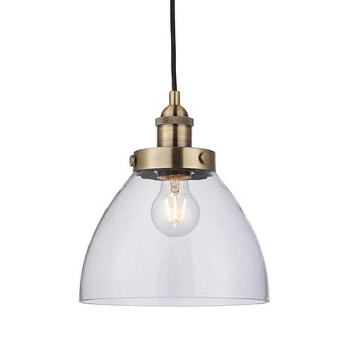 Industrial Glass Pendant - Antique Brass