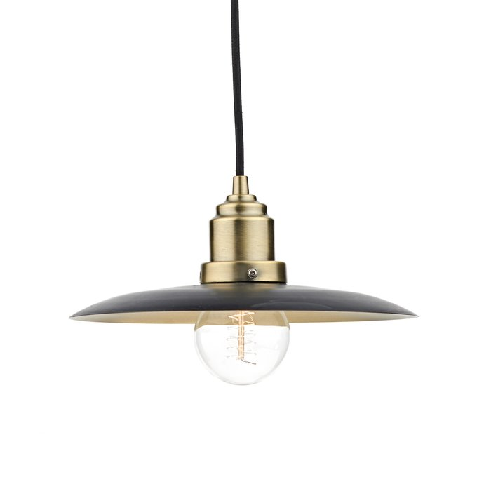 Industrial Pendant - Antique Brass & Black