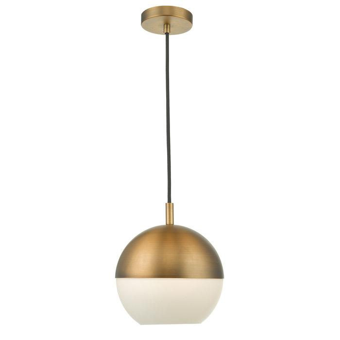 Sphère - Aged Copper & Opal White Glass Pendant