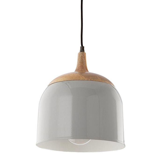 Seona - Grey & Wood Bell Pendant