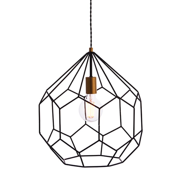 Geometrix - Matt Black & Gold Cage Pendant