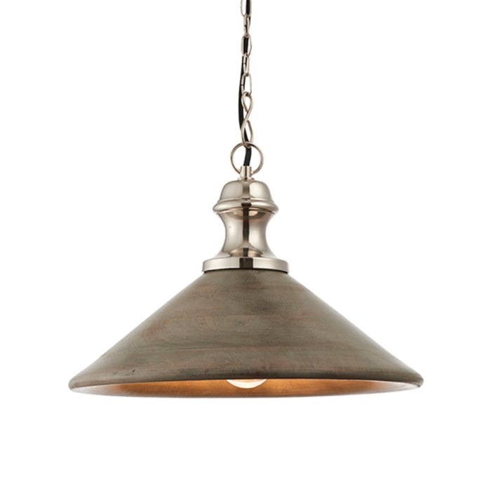Soft Industrial Pendant -Washed Wood & Nickel