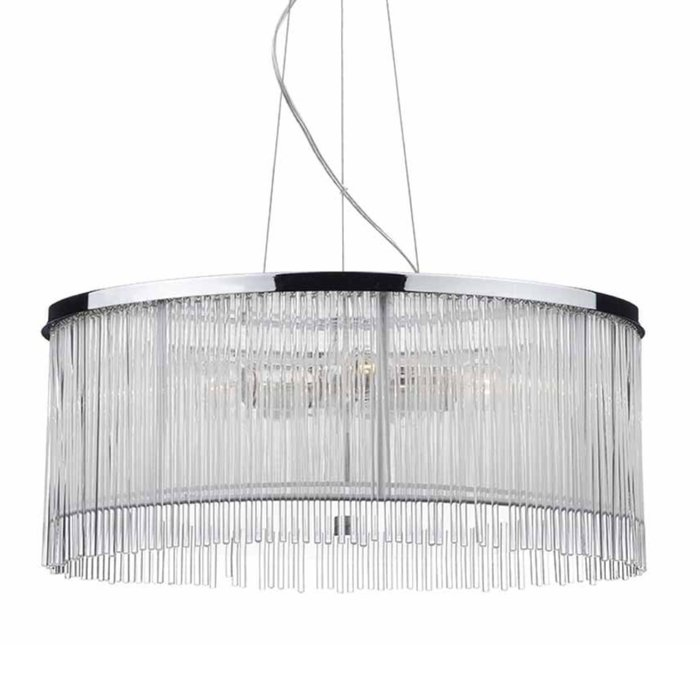 Reed - 50cm Glass Rod Feature Drum Pendant - Polished Chrome, White Silk String & Glass