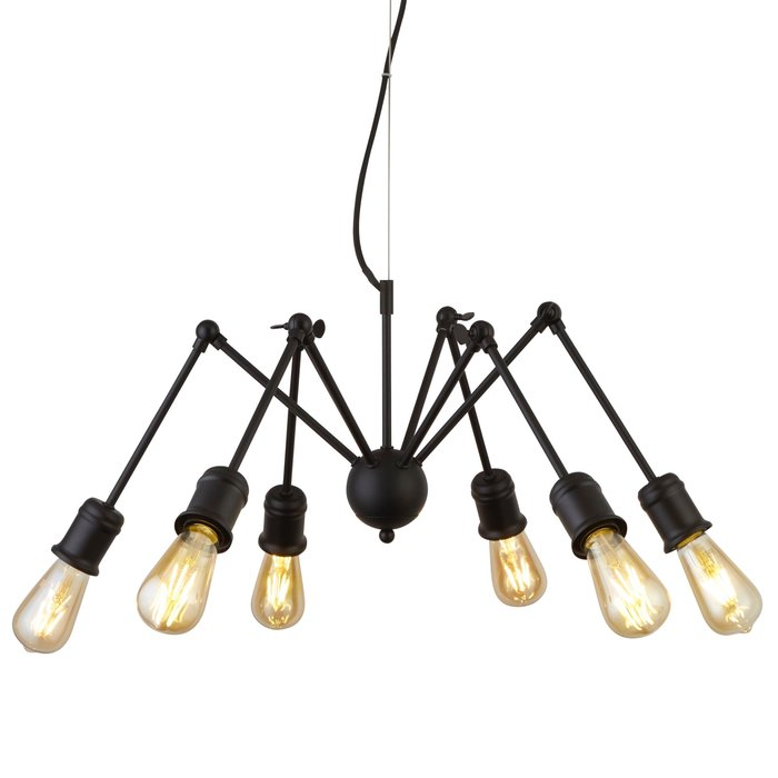Spiderette - 6 Light Industrial Feature Light - Matt Black