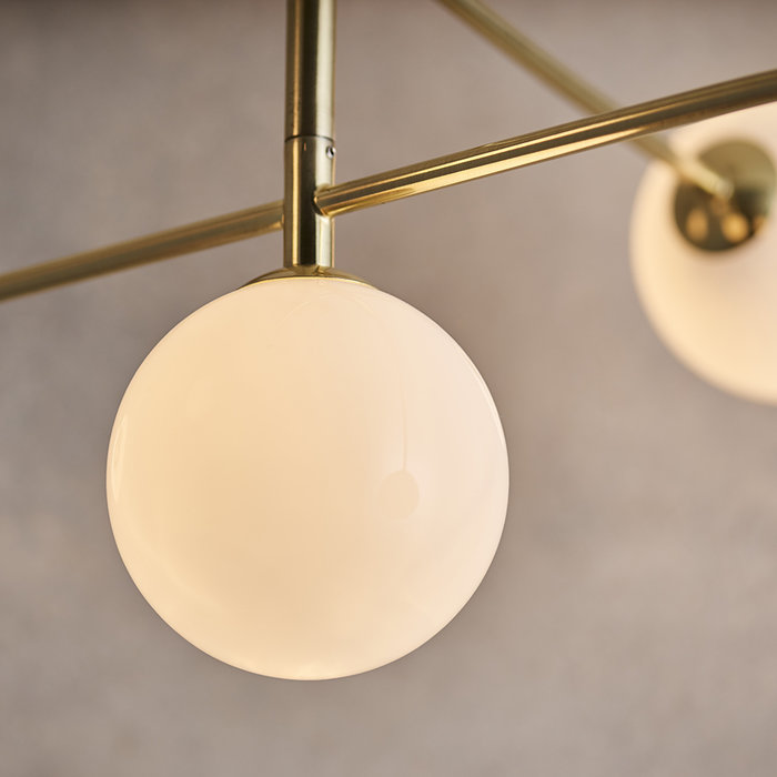 Dot - Mid Century Opal Globe & Brass 5 Light Semi-Flush Fitting