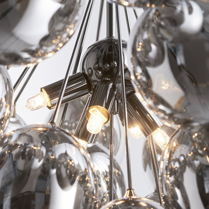 Infinite - 6 Light Dark Chrome Glass Pendant