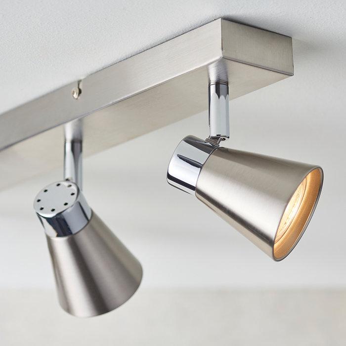 Key - 4 Head Spotlight Bar Ceiling Light - Satin Nickel